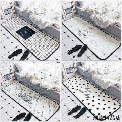 INS風簡約英文長條地墊客廳門廳防滑地墊加厚臥室床邊墊 可機洗