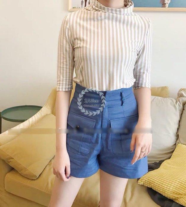 【2A Two】時尚高腰🍩顯瘦修飾⌒雙前口袋短褲『BA0441』