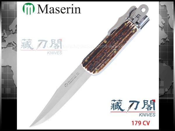 《藏刀閣》Maserin-(HUNTING)義大利鹿角柄大折刀