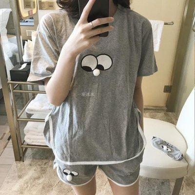 搞怪表情短袖短褲夏季睡衣套裝少女ins純棉學生日韓系甜美家居服 【Korea時尚記】