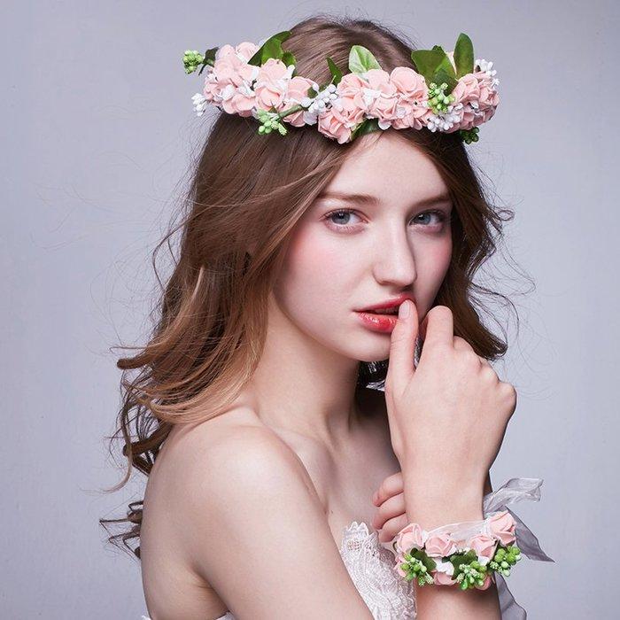 解憂zakka~ 新娘頭飾韓式仿真玫瑰花環婚紗發飾結婚度假海邊攝影配飾品手腕花#頭飾#髮飾