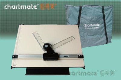 chartmate 恰得美 製圖桌:163PR-60P+300DH A2攜帶式製圖板/精巧平行尺+製圖機頭