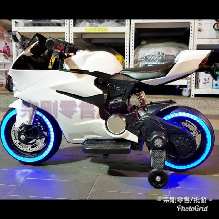 【宗剛零售/批發】類杜卡迪仿賽車GP造型兒童電動摩托車(雙馬達/12V) 超跑重機 仿真手催油門 避震器 兒童電動機車