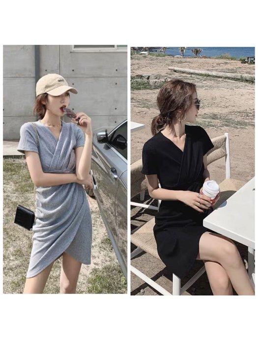 韓版休閒V領連身裙洋裝不規則短裙