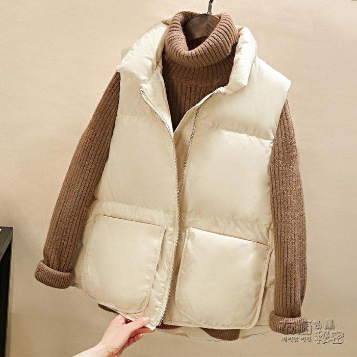羽絨棉馬甲女冬短款韓版新款加厚坎肩棉衣馬甲原宿面包服外套