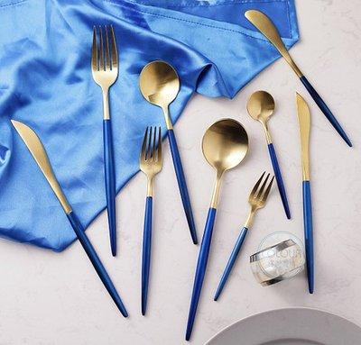 西餐具葡萄牙Cutipol GOA同款 【單件-藍金色系各款式】304不鏽鋼 ※ COLOUR杯盤囊集選物 ※