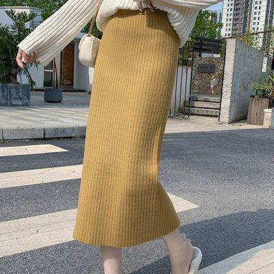 過膝裙 冬裝配毛衣高腰加厚保暖後開叉包臀長裙 艾爾莎【TGK8133】