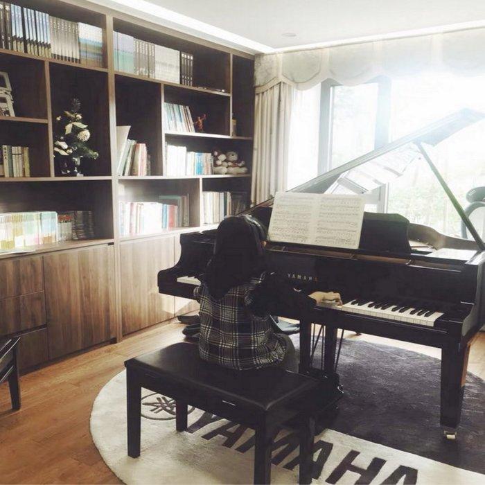 地毯 手工羊毛简约 可爱风隔音鋼琴地毯雅馬哈鋼琴地墊可定做純手工環保琴行鋼琴毯圓形厚款