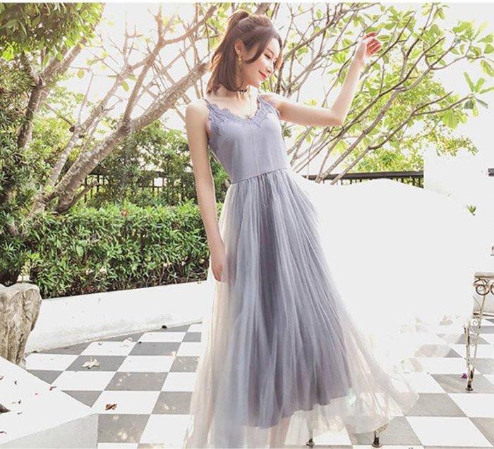 【韓國姐妹淘】韓國代購 韓版 浪漫細肩蕾絲紗裙洋裝 2018
