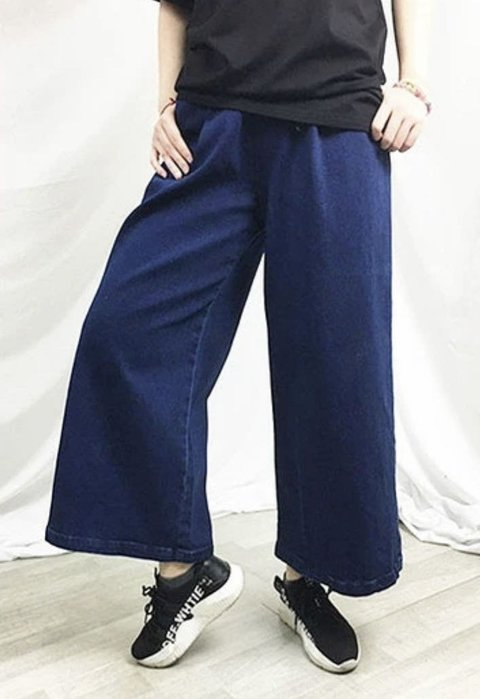 國外帶回點牛仔寬腿褲size:L