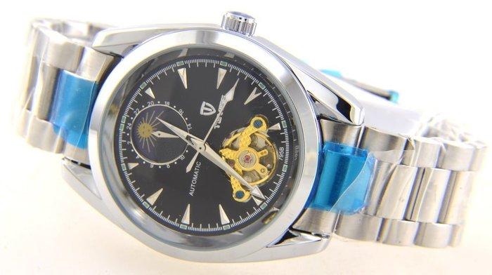 (六四三精品)錶徑4.1公分.日月相.似陀飛.時.分.秒大三針自動上鍊機械錶.共五款可任選