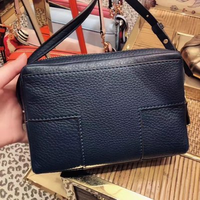 ╭☆包媽子店☆TORY BURCH Block T Double Zip Cross Body Bag 牛皮單肩小方包~