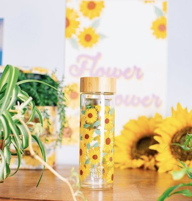 [SECOND LOOK]英國雜貨 自製水果茶 向日葵滿滿 雙層玻璃 隨身攜帶 水壺