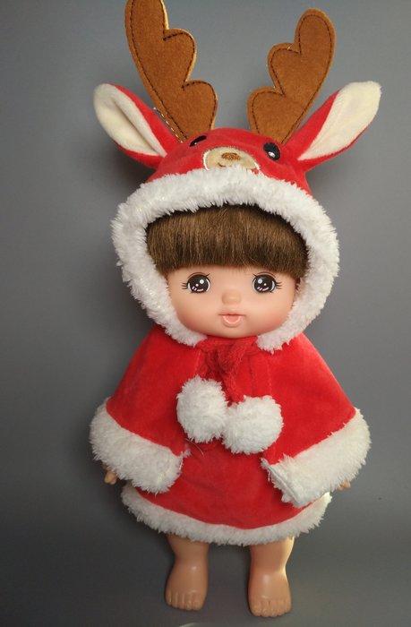 【小黑妞】小美樂巧虎小花娃娃配件-小美樂可穿-聖誕節馴鹿麋鹿披風+洋裝2件套裝【現貨:歡迎下標】