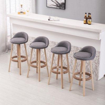 實木美式酒吧椅 高腳凳 吧凳 北歐式靠背椅 咖啡廳創意高椅 網紅簡約吧臺椅
