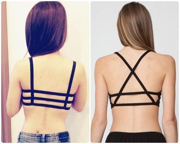 【JD Shop】 無鋼圈美背內衣 吊帶鏤空條紋交叉背心 內搭衣(原價$399)