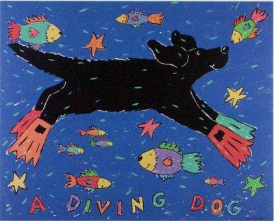 ◎『佳家畫廊』→Coco Dowley名畫【a diving dog潛水的狗】圖紙海報◎幼稚園/民宿/餐廳/設計師