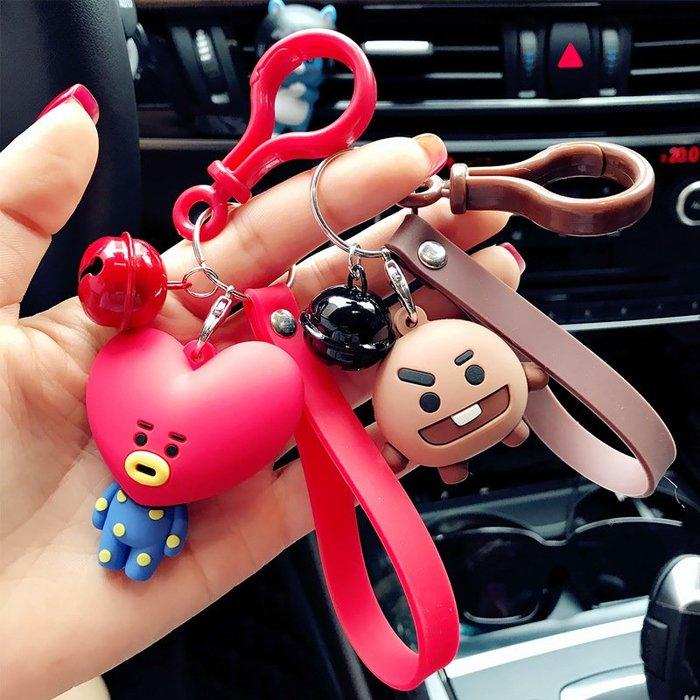 韓國可愛防彈少年團汽車鑰匙扣男士女款卡通滴膠鑰匙鏈圈包包掛件卡通鑰匙圈掛飾百搭掛件飾品包包掛飾手機掛飾禮品