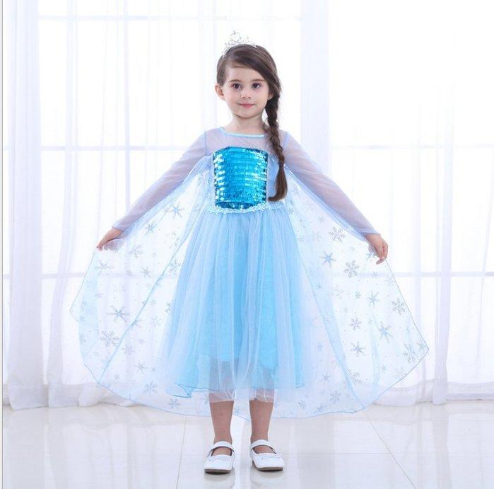 *蜜寶貝*E13冰雪奇緣🚩萬聖節-皇后Frozen愛莎公主裙Elsa禮服艾莎連衣裙女童洋裝 110-150碼-0024