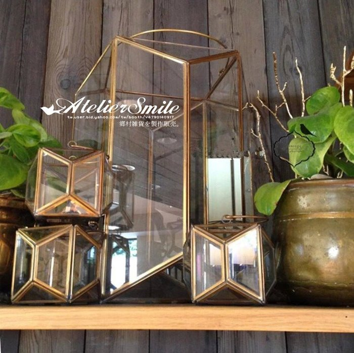 [ Atelier Smile ] 鄉村雜貨 美式鄉村 復古銅製幾何 玻璃花房 手提燭台 婚禮花器# 大 (現+預)