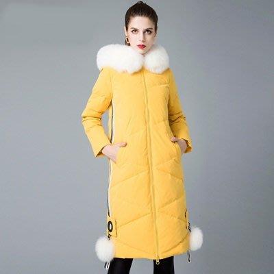 羽絨 外套 連帽夾克-狐狸毛領毛球側邊拉鍊女外套5色73um5[獨家進口][米蘭精品]