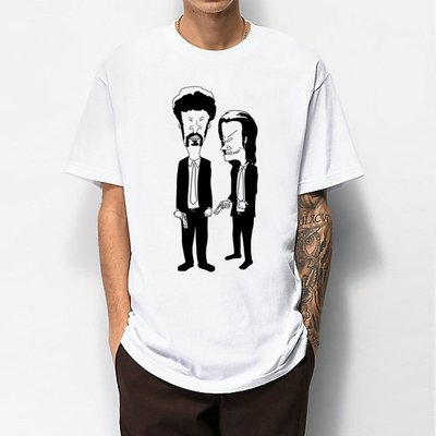 Beavis and Butthead - Pulp Fiction 短袖T恤 2色 癟四與大頭蛋玩翻黑色追緝令