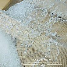 『ღIAsa 愛莎ღ手作雜貨』90cm 夢幻白色輕薄彈力蕾絲邊輔料DIY裙擺袖子服裝裝飾材料寬22cm