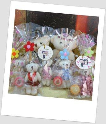 需自行包裝~韓風可愛小熊+水果糖+小卡/小花飾物印花包裝袋~結婚禮小物婚宴囍糖二次進場送客禮贈品來店禮周年慶生迎賓滿額禮