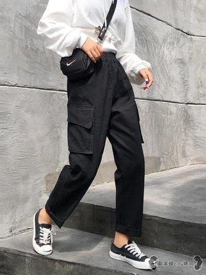 工裝褲 女寬鬆法式高腰帥氣束腳學生國潮牌直筒褲子 -全館免運
