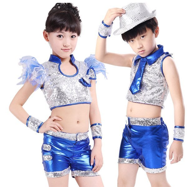 5Cgo【鴿樓】會員有優惠  38865086768 兒童現代舞表演服裝亮片男童女童爵士舞街舞演出服勁舞搖滾 兒童舞衣