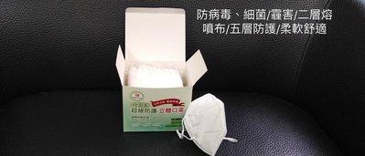 10盒特價10000元N95級別2層熔噴布立體口罩台灣製 下單後30分鐘內出貨