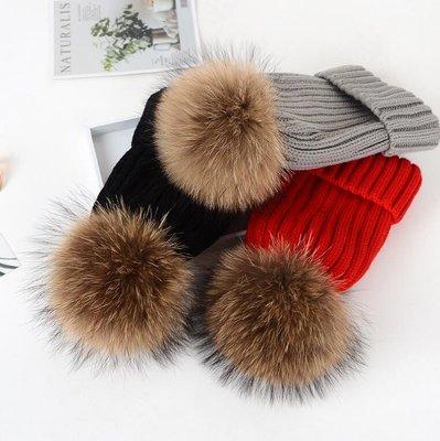 毛帽 親子款 冬天超大真貉子毛球毛線帽 女加厚皮草帽 親子帽子毛球針織帽