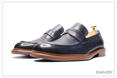 ├ DANDY ┤真牛皮復古燻舊樂福鞋 ‧ 2021新款經典男士時尚紳士深藍色-27612
