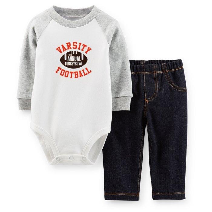 【Nichole's歐美進口優質童裝】Carter's 橄欖球長袖包屁衣+長褲二件組*Old Navy/OshKosh