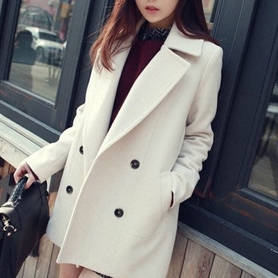 秋冬新款休闲大码反季呢子大衣韩版中长款宽松毛呢外套女潮尺码 S  M  L  XL  2XL