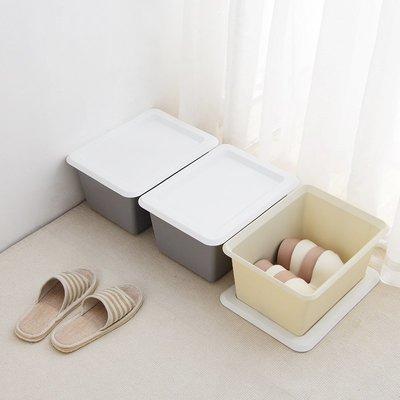 實用盒可疊加塑料收納箱素雅色有蓋書本儲物箱衣服玩具收納盒雜物整理箱