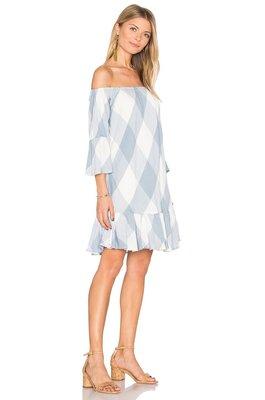 全新REVOLVE Tularosa Sara Dress Cottage Blue 藍色大格子平口露肩洋裝 S 欣匠