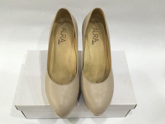 AURA 裸粉色厚底高跟鞋 細跟高跟鞋 前高後高 防水台 24號