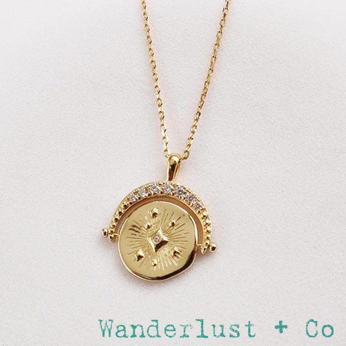 Wanderlust+Co 澳洲品牌 鑲鑽宇宙星系 旋轉錢幣項鍊 背面刻字款 Universe