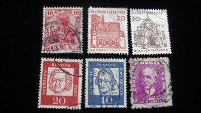 【大三元】歐洲郵票-11..德國郵票-明人.建築.鳥-銷戳票6枚