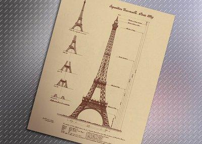 【貼貼屋】 巴黎鐵塔 懷舊復古 牛皮紙海報 壁貼 店面裝飾 經典電影海報 397