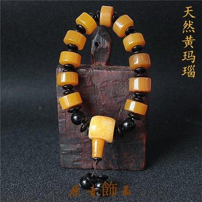 原音飾品西藏天然黃瑪瑙玉髓單圈手串民族風黃瑪瑙手串男女佛珠念珠手錬