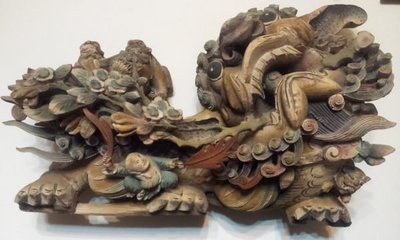 【紅蓮賞翫】早期收藏  木雕獅一對(參觀品)