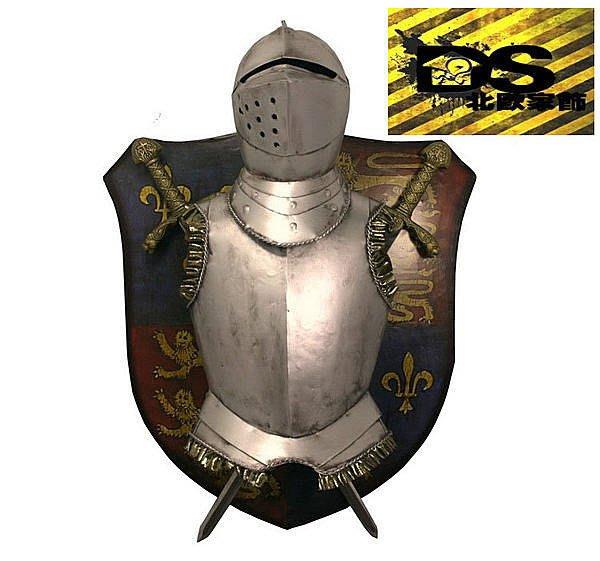 DS北歐家飾§loft工業風古羅馬盾牌盔甲壁飾掛飾玄關壁掛酒吧仿舊復古美式鄉村 中世紀帝國