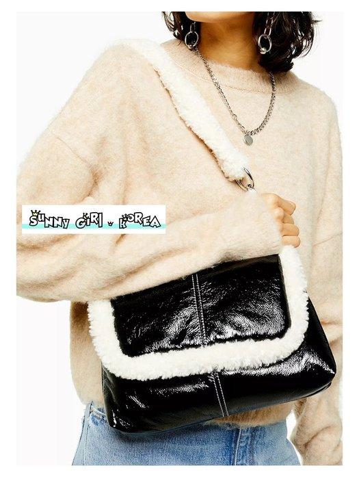 小方包*Sunny Girl*韓國英倫風羊羔絨鏈條油蠟皮單肩包 2020二月新款 - [WB0542]