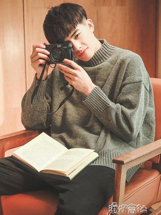 的冬季套頭高領毛衣男士針織衫韓版潮流外套慵懶風
