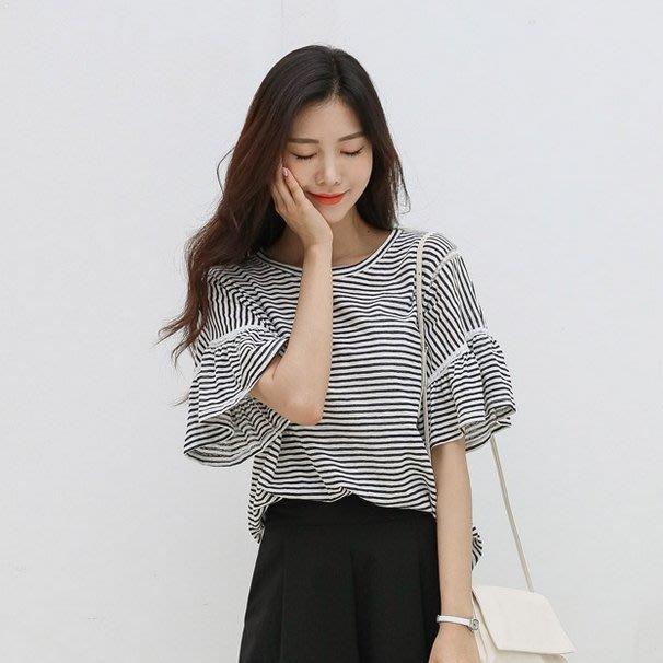 Bellee 正韓  超級愛條紋 小花朵蕾絲荷葉袖棉質上衣  (3色) 【J196051】 預購