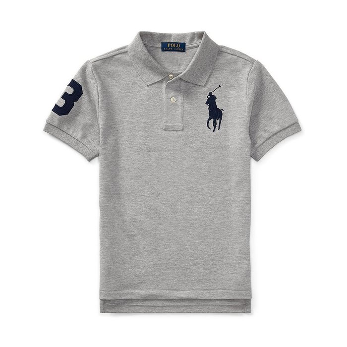 美國百分百【Ralph Lauren】Polo 衫 RL 短袖 網眼 上衣 深藍大馬 男款 XS S號 灰色 B003