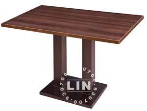 【品特優家具倉儲】R308-02餐桌黑砂咖啡金雙方管餐桌