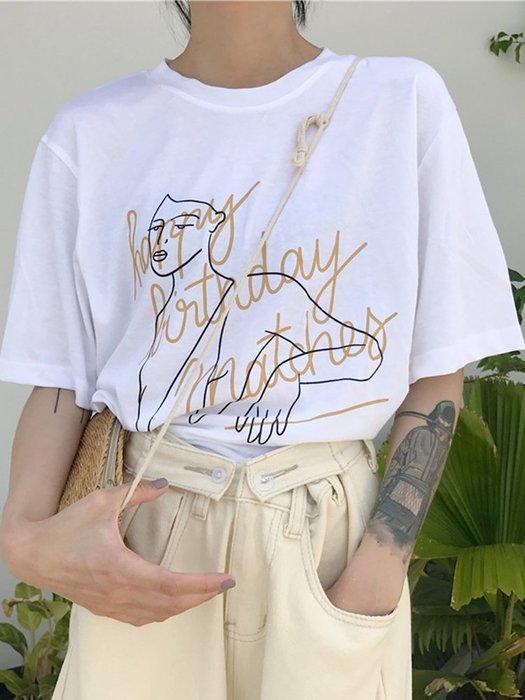 乾一 春夏手繪感抽象人物短袖女ins潮百搭韓范寬松字母網紅打底T恤上衣